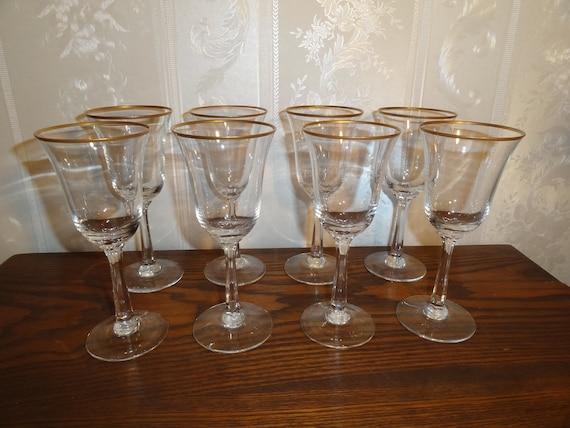 "Vintage 1970's - 1980's Lenox Crystal ""Intrigue Pattern"" Gold Rim Wine Glasses Matching Set / 8"