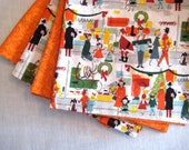 "Modern Holiday Napkins - Mid Century Modern - Set of 4 - 16"" Reversible  - 100 % cotton - Only One Set Available"