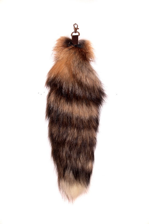 Recycled Cross Fox Fur Tail for Keychain or Belt Loops