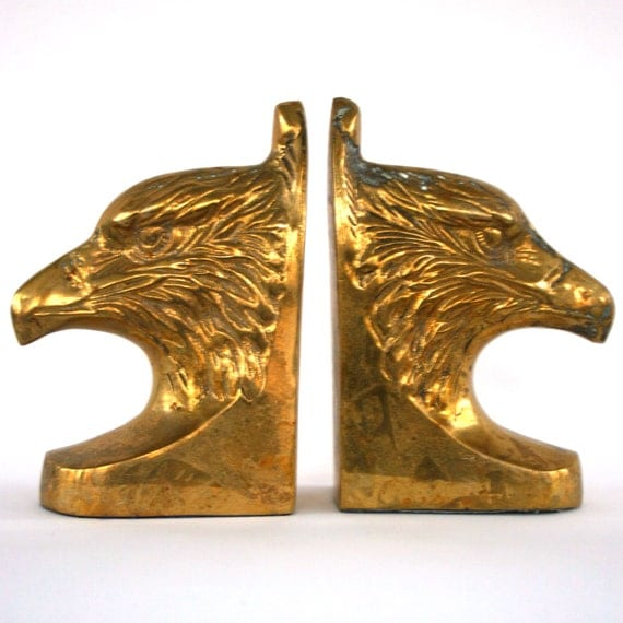 Vintage Brass Bookends Pair Brass Eagle Bookends Statue Americana Classic Desk Office Library Bookshelf Men Dudes Metallic Gold Home Decor