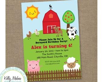 Custom Barnyard Farm Animal Birthday - Printable Digital Invitation - Personal Use Only