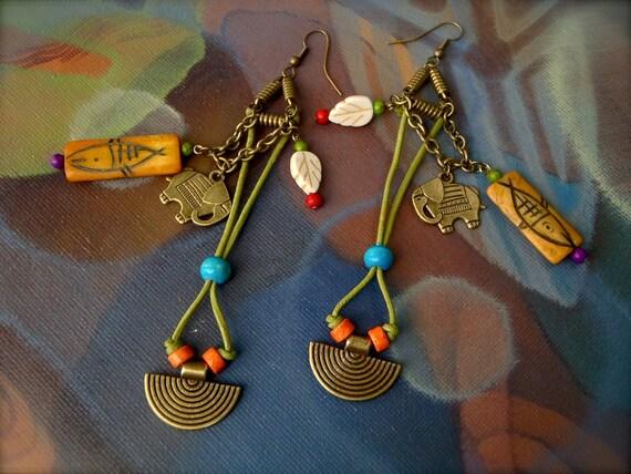 Reserved // LUCKY Elephant Fish Earrings shoulder duster Ganesh Earrings LEATHER earrings brass earrings Large Long earrings Gypsy earrings