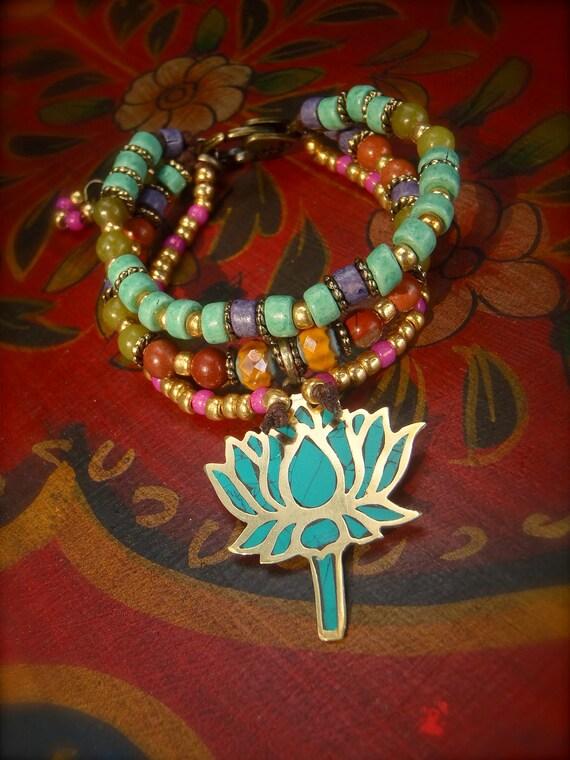 LOTUS BRACELET, Triple strand Bracelet, Yoga bracelet stackable bracelet, Gypsy beaded bracelet, Nomad jewelry, gold turquoise wrap bracelet