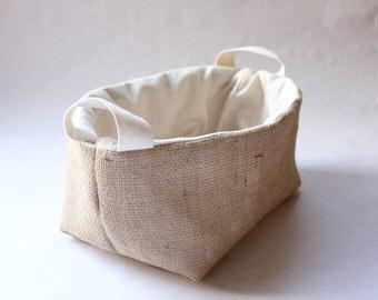 Jute Fabric Basket with Handles - Medium / Organizer / Bin / Storage