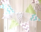 Baby Shower Garland Banner, Bunting, Fabric Pennants, Lime Gingham, Aqua Chevron, Grey Dot, Boy Nursery Decor, Wedding, Birthday Garland