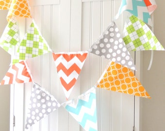 Boy Baby Shower Banner, Bunting, Fabric Flags, Orange, Aqua Chevron, Grey, Yellow, Lime Argyle Baby Nursery Decor, Wedding, Birthday Garland