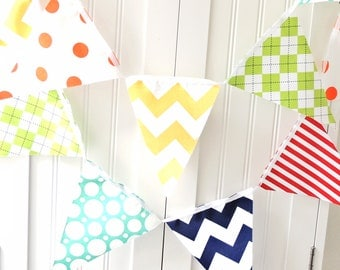 Boy Bunting Banner, 11 Fabric Pennant Flags, Birthday Party, Yellow Chevron, Orange, Teal, Lime Argyle, Red Stripe, Baby Boy Nursery, Shower