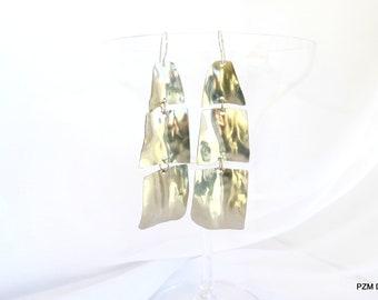 Long tribal earrings, no tarnish silver dangles, modern metal jewelry, gift under 40