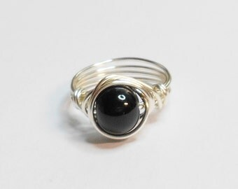 Silver Ring Black Onyx Agate Gemstone Silver Plate Handmade Wire Wrapped Ring Sizes 1-14