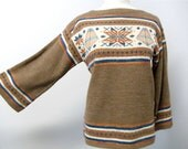 70's Vintage Women's Geometric Native American Patterned Brown Sweater MADEMOISELLE KNITWEAR LABEL