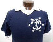 Vintage Men's Medium Navy Soccer Team Shirt Coach