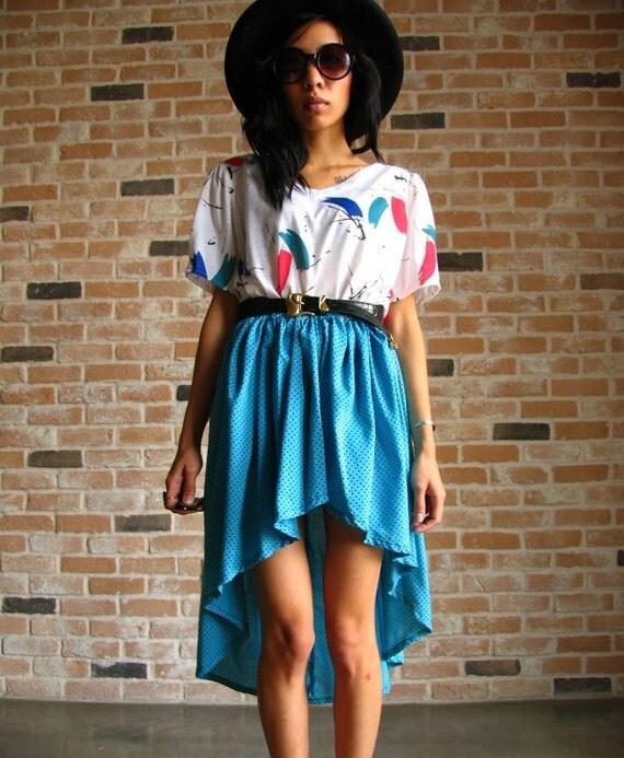 80s upcycled dress - art splash and polkadot - hi lo fishtail hem - hipster sun dress Small S