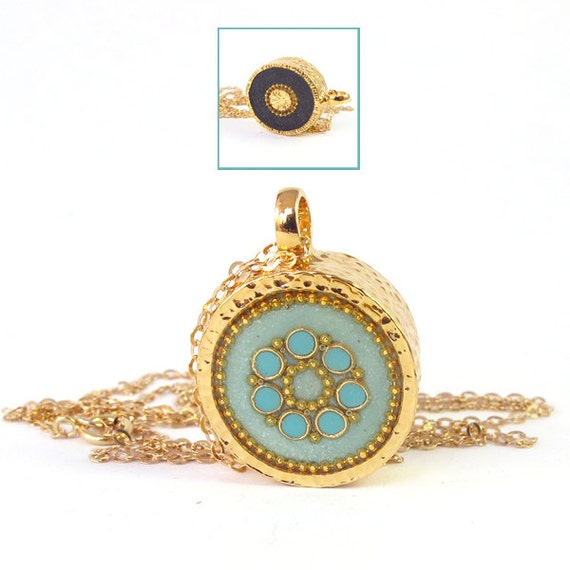 FREE SHIPPING long Necklace ,  Light green, mint, turquoise flower & black necklace, 14K gold filled,   Double-sided,