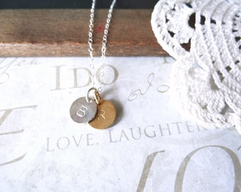 DARLING personalized hand stamped initial necklace (silver or gold)