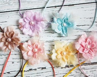 Little Limelights- Set of 6-- dainty flower, feather and pearl headbands