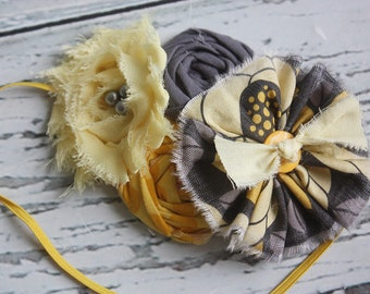 If You're a Bird - grey and yellow ruffle rosette headband bow