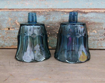 Dark Blue Glass Votive Candle Cups Wall Sconce Vintage