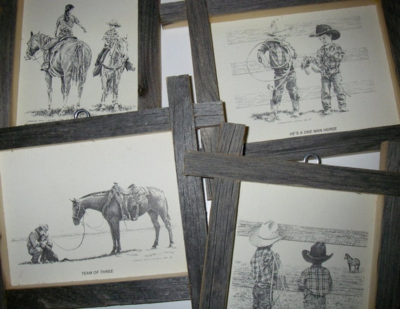 Set Of 4 Vintage Cowboy Ink And Pen Crosshatch Drawings by Lorraine Mack Liboiron Rustic Frames Western Art