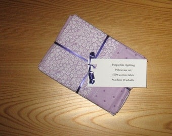 1930's Style Purple Floral Pillowcases Set of 2