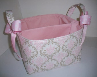 Diaper Caddy Large 10 x 10 x 7 / Organizer Bin / Pink Grey Taupe Damask - Personalization Available