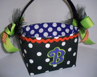Polka Dot Halloween trick or treat Basket / Personalized Appliqued Letter Included