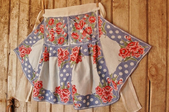 SALE -Half Apron Vintage Hankie Hankies- Country Pink Daffodils and Morning Glories - Romantic Prairie Style