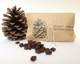 Unique Wedding Favors. Set of 50 coffee favors with custom stamp. Autumn wedding gift.