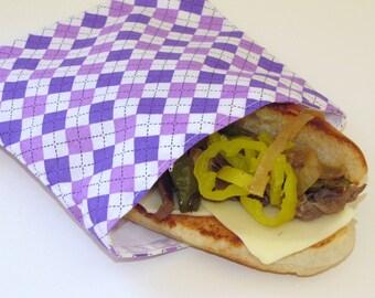 Reusable Sandwich Bag - Purple Argyle
