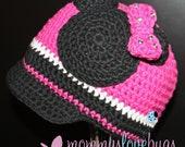 Minnie Mouse Inspired Crochet Brim Beanie - Newborn through Adult Sizes
