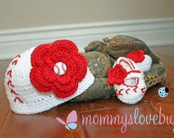 Girls Baseball Crochet Beanie and Booties Set - Newborn through 24 Month Sizes