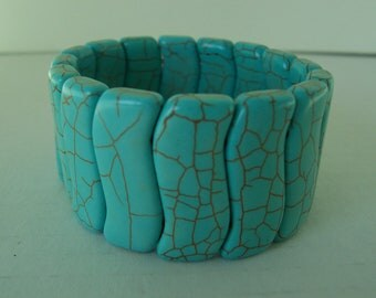 Turquoise Howlite Elastic Cuff Bracelet Powerful Stone Stylish Fashionable Accessory Accent Casual Or Dressy Trendy Stretchy Wide Bold Gift