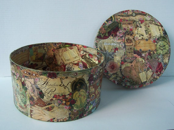 Round decoupage eco craft box paper mache victorian era motif for Craft paper mache boxes