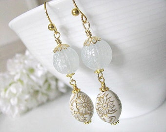 Vintage Pale Blue Cream Gold Floral Eggs Earrings, White Earrings, Ornate Beads Earrings - Soft White Winter, Gift For Her, Christmas Gift