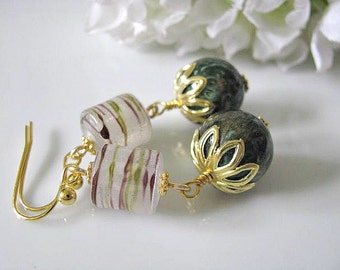 Vintage Green Gold Marbled Rounds With Brown Green Drizzle Swirl Barrels Earrings, Retro Earrings, Gift For Her, Holiday Gift Idea