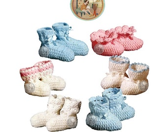 Baby Booties Bootees to Crochet - Vintage Digital Pattern - PDF Email Delivery - PrettyPatternsPlease