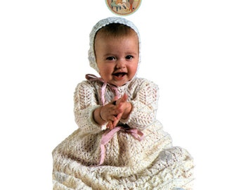 Baby Christening Dress and Bonnet to Knit With 2 Lace Designs - Vintage Instant Download Digital English Pattern - PrettyPatternsPlease