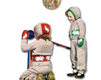 Snow Suit to Knit for 3 Year Olds 1940s Bunny - Vintage Digital Pattern Instant Download PDF - PrettyPatternsPlease