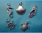 Beach Themed Sterling Silver Charms Set of 5: Seahorse, Shell, Sandal, Helm, & Sea Turtle