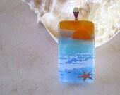 Fused Glass Pendant, Dichroic Pendant, Dichroic Glass, Beach P0101