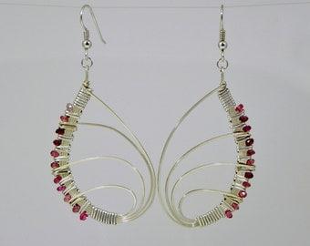 Pink Tourmaline Butterfly Wing Argentium Sterling Silver Wire Wrap Earrings