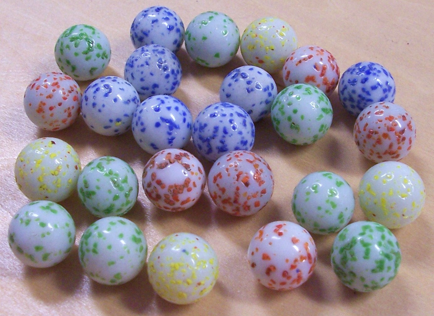 Vintage Glass Marbles Speckled Twenty Five 25 Blue Red Green