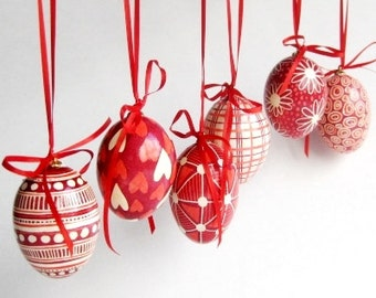 Christmas gift Pysanky ornaments traditional Ukrainian pysanky chicken egg shells set of six
