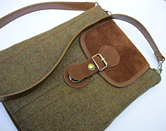Padded iPad sleeve / case, copper brown tweed recycled wool suit coats with copper faux suede, detachable strap, back pocket