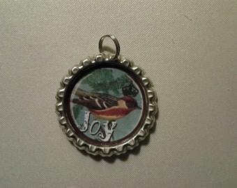 "Bottlecap pendant Crowned Bird ""Joy""  jewelry"