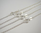 Solid 925 Sterling Silver Chain Link Necklace, Cable Chain Necklace 12, 14, 16, 18, 20, 22, 24 inches
