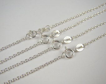 925 Sterling Silver Chain Necklaces Bulk 18 inches 20% Off , 5 Finished Chain Link Necklaces , Round Cable Chain Necklace , Wholesale Chains
