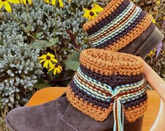 """CROCHET PATTERN """"Swift Kick"""" Southwestern Short Boot Cuff Sock Leg Warmer"""