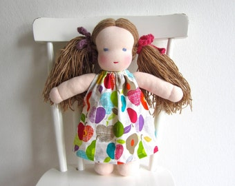 Waldorf doll, organic, blue eyed, eco friendly, long haired, purple, pink, cosy, soft, natural, 12 inch