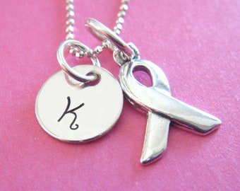 Cancer Ribbon Necklace - Hand Stamped Jewelry - Cancer Awareness Necklace