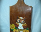1980s Hand Painted Owl Key Holder .
